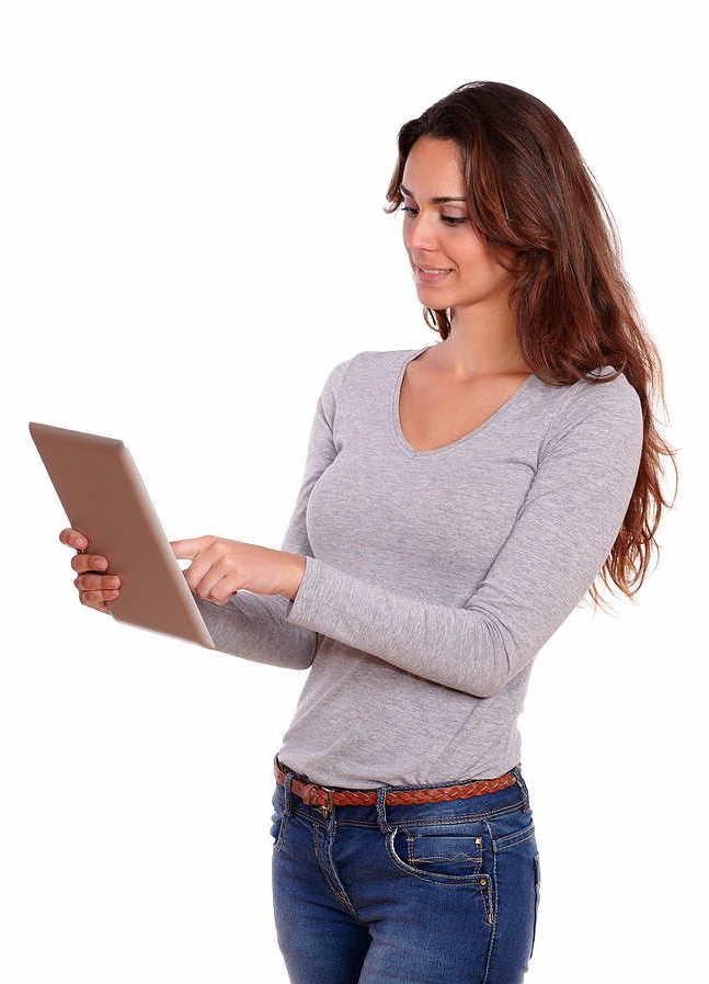 Traffic Goliath woman tablet